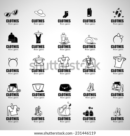 Clothes Icons Set - Isolated On Gray Background - Vector Illustration, Graphic Design Editable For Your Design  - stock vector