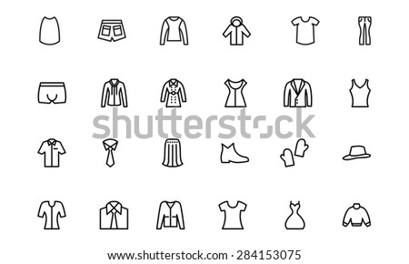 Clothes Line Vector Icons 4 - stock vector