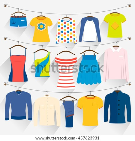 Clothes of different colors on hangers. Man, woman and teenager things on the clothesline. Shop season sale. Laundry service. Can be used for ad, sale promotion - stock vector