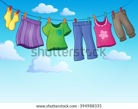 Clothes on clothing line theme image 2 - eps10 vector illustration. - stock vector