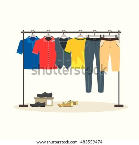 Clothes Racks Menswear On Hangers Flat Stock Vector ...