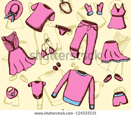 Clothes seamless pattern - stock vector
