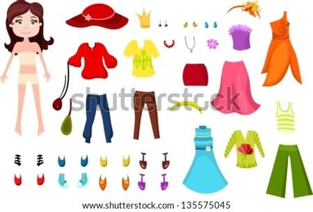 clothes set - stock vector