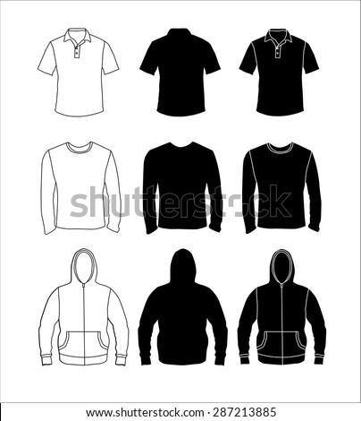 Clothes silhouette collection, shirt, long sleeve t-shirt and hoodie. Vector eps10 illustration. - stock vector