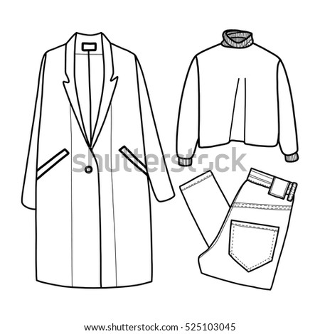 Clothes vector illustration, coat, sweater, jeans, trousers, jacket