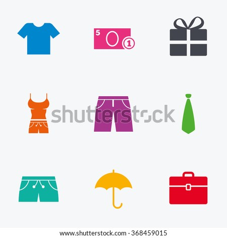 Clothing, accessories icons. T-shirt, business case signs. Umbrella and gift box symbols. Flat colored graphic icons. - stock vector