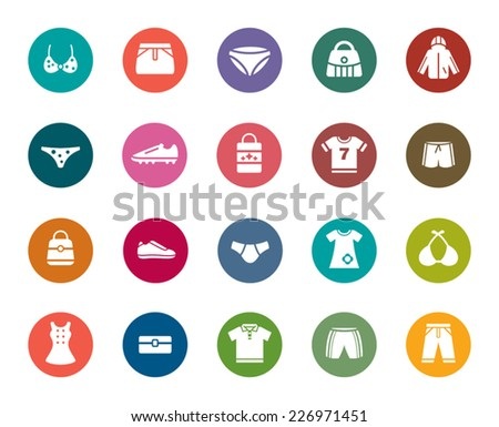 Clothing and Accessories Color Icons - stock vector