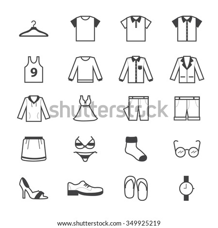 Clothing and Accessory Icons Line - stock vector