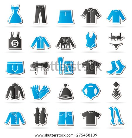 Clothing and Fashion collection icons - vector icon set - stock vector