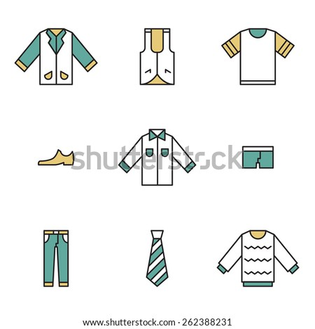 Clothing, garments and accessories icons flat linear style - stock vector
