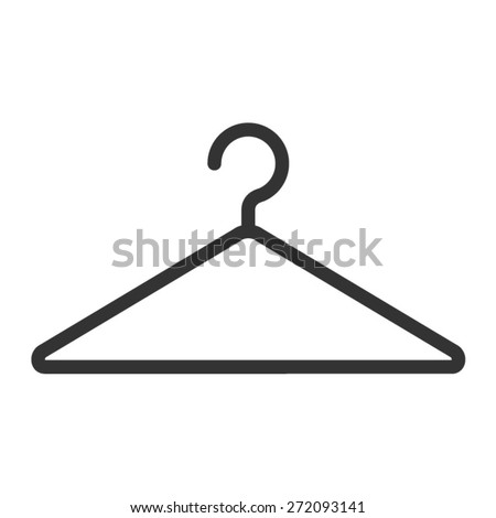 Clothing hanger line art icon for fashion app and website - stock vector
