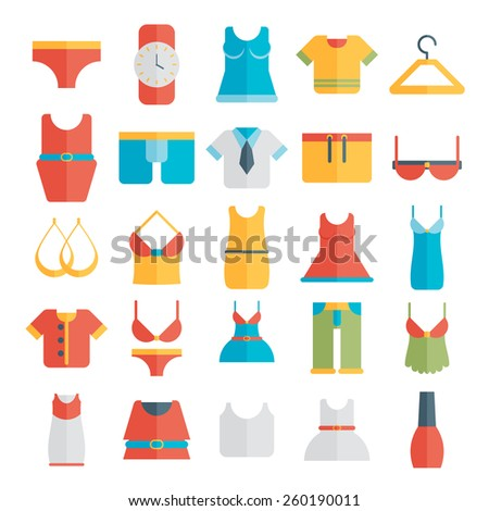 Clothing Icons - Illustration flat. - stock vector