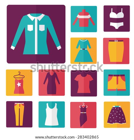 Clothing icons set, shopping elements, flat design vector - stock vector