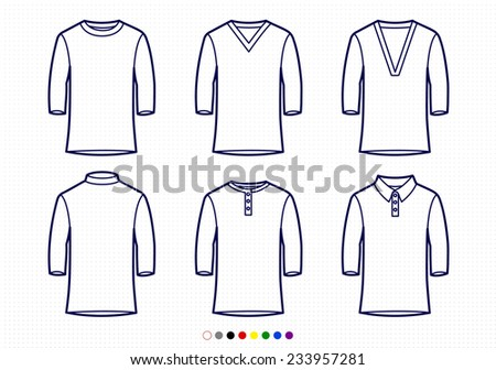 Clothing Pictograms, One Color Outline, Baseball Style T-Shirt Collection - stock vector
