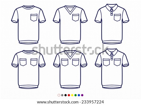 Clothing Pictograms One Color Outline T Shirts With Pockets Regular V