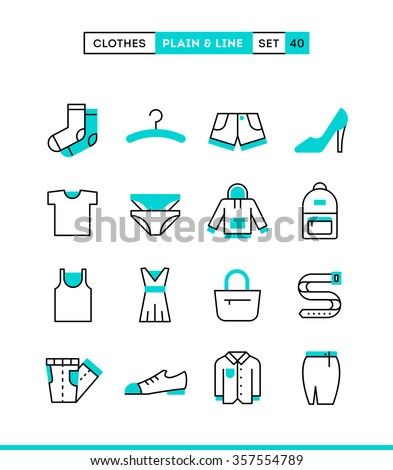 Clothing. Plain and line icons set, flat design, vector illustration - stock vector