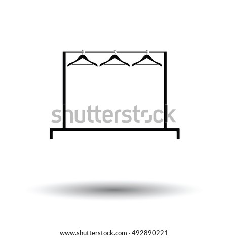 Clothing rail with hangers icon. White background with shadow design. Vector illustration.