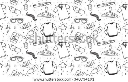 Clothing seamless texture. Pattern. Background for store, shop or package. Black and white pattern with t-shirt, polo, glasses. Hipster style - stock vector