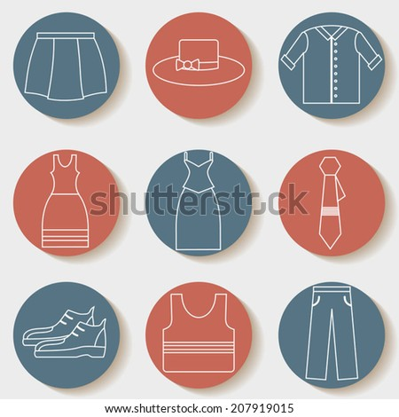 Clothing set, clothes icons, shopping elements, white lines design vector collection - stock vector