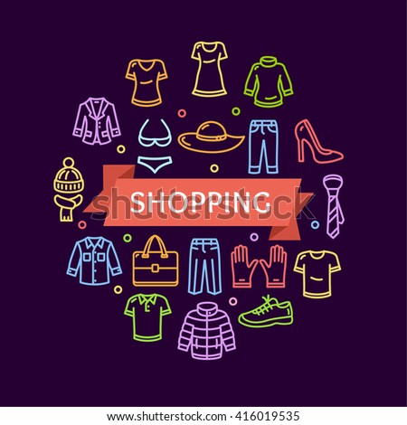 Clothing Shopping Concept on a Dark. Vector illustration - stock vector