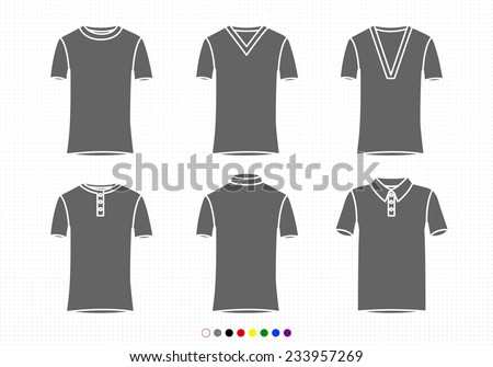 Clothing Silhouettes T-Shirt Collection Regular, V Neck, Buttoned, Bicycle, Polo - stock vector