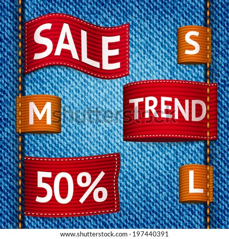 Clothing size trend sale colored label ribbon set on denim background vector illustration - stock vector
