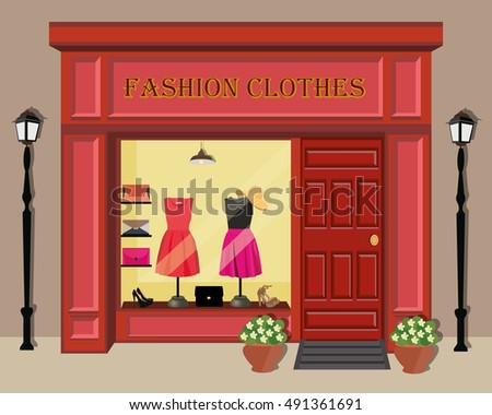 Clothing Store Building And Interior With Products On Shelves Fashion Dresses Shoes Bags