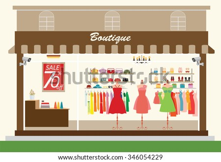 Clothing store building and interior with products on shelves, Shopping fashion, bags, shoes, accessories on sale, shopping vector illustration. - stock vector