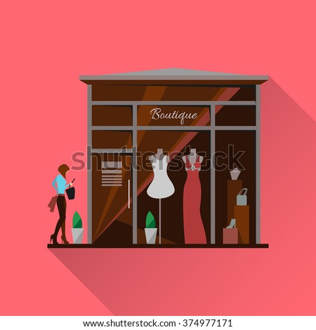 Clothing store. Man and woman clothes shop and boutique. Shopping, fashion, bags, accessories. Flat style vector illustration. Modern stylish boutique. Woman silhouette in the show window. Vector - stock vector