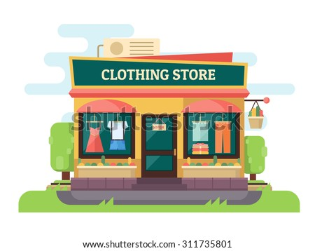 Clothing store or boutique. Facade store with landscape. Vector flat design illustration - stock vector