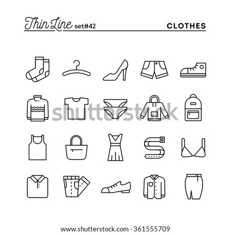 Clothing, thin line icons set, vector illustration - stock vector