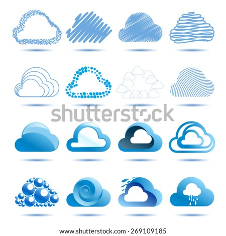 Cloud abstract vector logo design template. Cloud blue 3d. Volume and flat icons Clouds. EPS 10 - stock vector