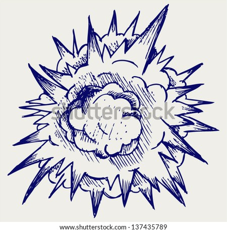 Cloud after the explosion. Doodle style - stock vector