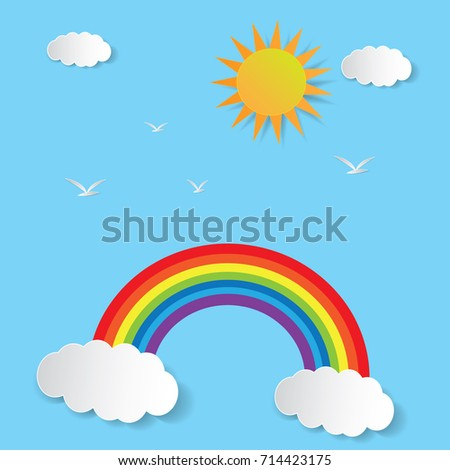 Cloud and blue sky with rainbow, paper art style.