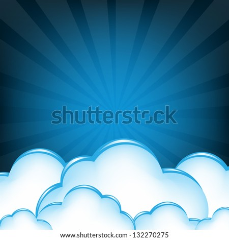 Cloud And Blue Sunburst With Gradient Mesh, Vector Illustration