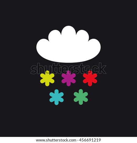 Cloud and color snowflakes vector illustration. Book or album cover. T-shirt print - stock vector
