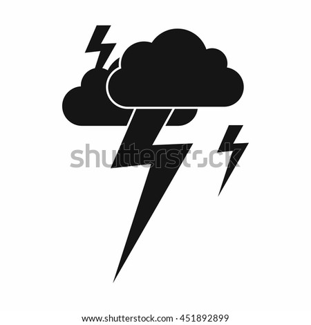 Cloud and lightning icon in simple style isolated vector illustration - stock vector