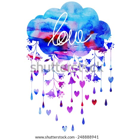 cloud and rain of hearts - stock vector