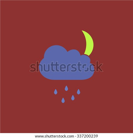 Cloud and rainy month. Icon Vector. Icon Picture. Icon Graphic. Icon Art. Icon JPG. Icon JPEG. Icon EPS. Icon AI. Icon FLAT. Icon SIMPLE - stock vector