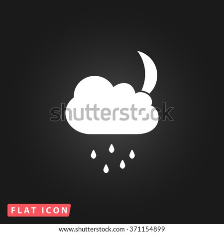Cloud and rainy month. White flat simple vector icon on black background. Icon JPEG JPG. Icon Picture Image. Icon Graphic Art. Icon EPS AI. Icon Drawing Object. Icon Path UI - stock vector