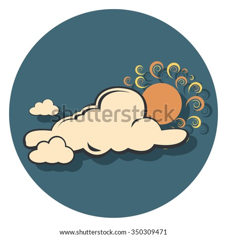 cloud and sun flat icon in circle - stock vector