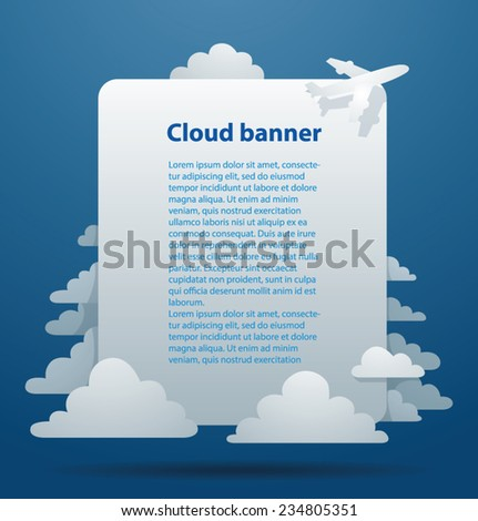 Cloud Banner with plane, vector - stock vector