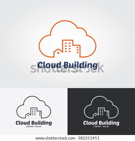 Cloud Building Logo. Mortgage & Real Estate logo design business. - stock vector