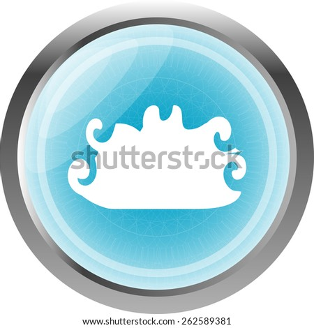cloud button, web icon isolated on white - stock vector