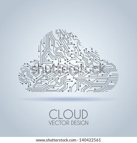 cloud circuit over gray background vector illustration - stock vector