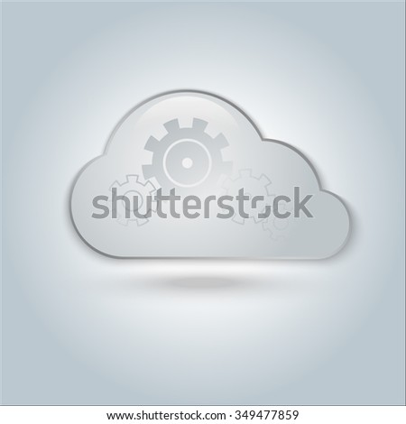 cloud ,cloud with gears ,cloud computing , cloud icon, vector illustration