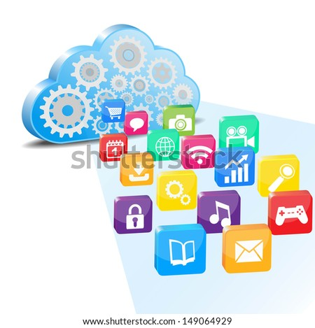 cloud computing and applications  - stock vector