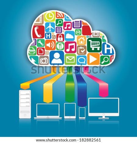 Cloud computing and applications concept. Vector illustration in EPS10. - stock vector