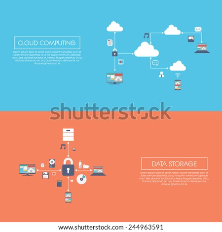Cloud computing and data storage infographics vector illustration with digital devices and icons. Eps10 vector illustration. - stock vector
