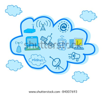 Cloud Computing And Global Telecommunication Vector
